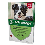 Advantage spot on flea treatment for dogs of 10kg to less than 25kg