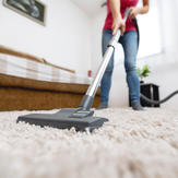 Pet owner vacuuming in the home – one recommended way to remove fleas from the home